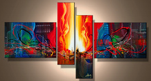 handpainted 4 piece modern abstract oil paintings on canvas walls art pictures for living room home decorations -258520(China (Mainland))
