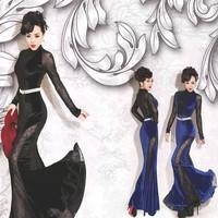 New Summer Winter European and American Fashion Elegant Women Corduroy Swing Stitching Slim Fishtail Evening Dress SRX07