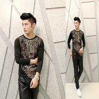 Free shipping! The latest ... Men Slim printing irregular fashion personality long-sleeved T-shirt ct306