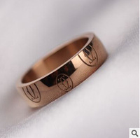 Luxury 18K Rose Gold Plated CA Logo Designer Brand Pattern Ring For Women and Men. Fashion Wedding 316L Titanium Steel Jewelry