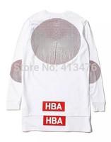 2014 men's long sleeve t-shirt HOOD BY AIR HBA kanye west print pullover fashion t shirt cotton dress lengthen tee men PYREX
