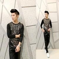Free shipping! The latest ... Men Slim printing irregular fashion personality long-sleeved T-shirt ct307