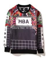 2014 HBA brand 3M reflective stripe men's hoodies Outerwear pullover moleton fleece print HOOD BY AIR Sweatshirts Grid Storm