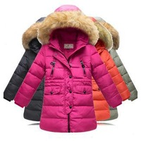 The girl's long down jacket down jacket 2014 winter children with thick coat  free shipping