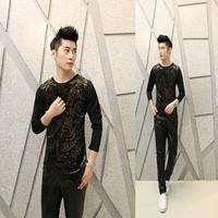 Free shipping! The latest ... Men Slim printing irregular fashion personality long-sleeved T-shirt ct308