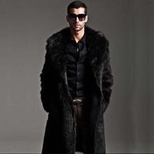 man spring 2014 new double-sided wear fur coats Men Slim long coat thick winter coat(China (Mainland))