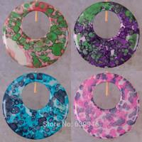 Free shipping Pink,Purple,Blue,Red Circle Ocean Jasper Bead Stone Pendant GEM Jewelry
