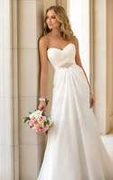 2014 New Custom Size White/Ivory Sleeveless Sweetheart Beading A-Line Floor-Length Chiffon Wedding Dresses