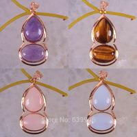 Free shipping Mixed Stone Amethyst,Tigereye,Rose Quartz,Opal Beads Pendant Calabash GEM Jewelry