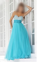 2014 New Arrival Free Shipping Cheap Price ! Good Quality ! Sweetheart Crystal Rhinestone Blue Prom Dresses