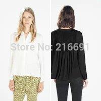 2014 new fashion women elegant V-neck pure color  back drape chiffon blouse Lady casual slim brand design shirt #J307