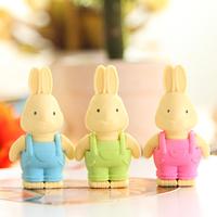 Eraser Correction Supplies Korea Cute Cartoon Bunny Wearing Overalls Eraser School Supplies Stationery Cute Kawaii