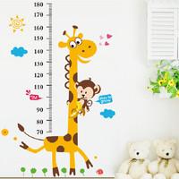 10pcs/lot Wholesale Children's room Kindergarten Giraffe Height Posted Hall Stickers Home Decoration Cartoon Children