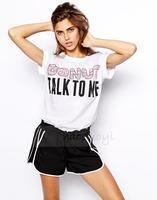 2014 women T-shirt  Summer Casual Donut  talk to me Letter Print Short-sleeve O-neck White Tshirt Women   XS~XXL