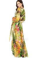 2014 women dress summer tropical rainforest flower print chiffon long dress women bohemian floral chiffon maxi dress beach dress