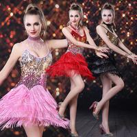 T4 New Design Tassel Women Latin Dance Dress Professional Samba Stage Latin Salsa Dresses Dance Costumes Cloth for Dancing Dress
