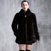 2015 Plus Size Winter Warm Luxury Overcoats Ladies Elegant Mink Fur Jacket New Fashion Women's Fur Outerwear Coat A200