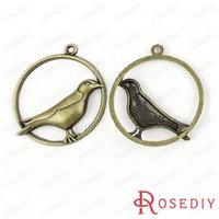 (28380)Vintage Charms & Pendants 37*33MM Antique Bronze Alloy Round Birds 100g,about 27 pcs