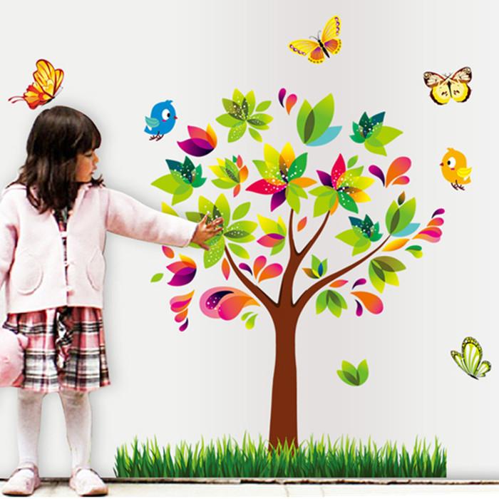 Pohon warna kupu kupu vinyl stiker dinding untuk kamar  : Pohon warna kupu kupu vinyl stiker dinding untuk kamar anak anak Anak laki laki perempuan dekorasi from id.aliexpress.com size 700 x 700 jpeg 132kB