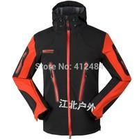 2014 new men Camping outdoor hiking jackets softshell ski waterproof Hooded Hiking Travel Golf Snow warm windbreaker coat
