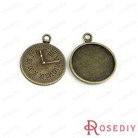 (28383)Vintage Charms & Pendants 34*28MM,inside 25MM Antique Bronze Alloy Cameo settings Clock 100g,about 26 pcs