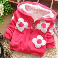 New 2014 Children Outerwear Big Flower Girls Hoodies Zipper Baby Girls Coat Kids Winter Warm Clothes Girls Cute Jacket