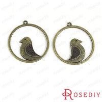 (28375)Vintage Charms & Pendants 42*38MM Antique Bronze Alloy Round Birds 100g,about 16 pcs