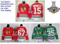 Chicago Blackhawks Jerseys Ice Hockey Jerseys #15 Brunette red #67 Frolik red #35 Esposito green 2013 Stanley Cup champion