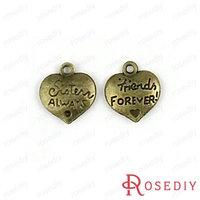 (28351)Vintage Charms & Pendants 16*14MM Antique Bronze Alloy Friends forever Heart 100g,about 54 pcs