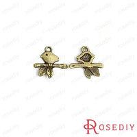 (28376)Vintage Charms & Pendants 17*17MM Antique Bronze Alloy Small Birds 100g,about 105 pcs
