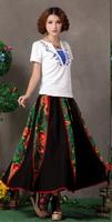 Cotton and linen women's national women's skirts of spring wind literary fan k 'uan pine full-skirted dress dress linen skirt