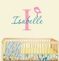 Personalized Name With Cute Birds Vinyl Wall Decals Wall Stickers Nursery Wall Decor Size 58*42cm