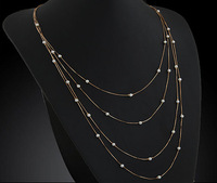 Min order 10USD(Mix order) SJB561 Western Style Fashion Gold Chain Pearl Necklaces & Pendants