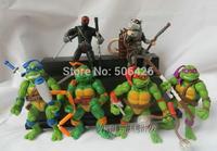 "Free Shipping 6pcs 4.5"" TMNT Teenage Mutant Ninja Turtles with Ninja PVC Action Figure Collection Toy Gift (6pcs per set)"