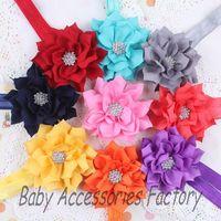 2014 Chic Infant Headband Baby Lotus Flower Headbands With Rhinestone Newborn Flower Headwear Toddler Christmas Hair Accessories