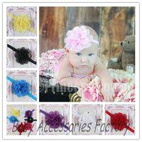 Trial Order 10pcs Infant Elastic Headband Baby Chiffon Flower Headband Newborn Flower Hair Band Baby Christmas Hair Accessories