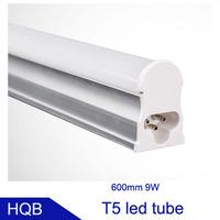 9W 600MM LED T5 Tube Light Super Brightness SMD2835 900lm 0.6M 60CM Integrated Fluorescent Lamp AC85- 265V  50pcs/lot