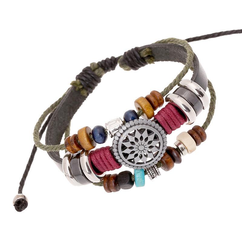 New 2014 Vintage Retro Leather Bracelet Personality Sunflower Wooden Bead Bracelet & Bangle For Women Men Unisex Jewelry Black(China (Mainland))