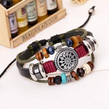 New 2014 Vintage Retro Leather Bracelet Personality Sunflower Wooden Bead Bracelet Bangle For Women Men Unisex
