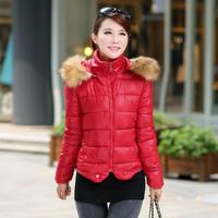 New women's winter coat Korean Fashion Slim Short hooded down coat collar Nagymaros freeshipping