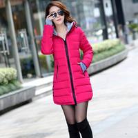 Korean version of the new women's winter coat long paragraph Slim minimalist padded hooded down freeshipping