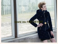 Free shipping  2014 new velvet jacket and long sections Slim down coat
