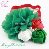 12pcs/lot Baby girl Christmas headbands chiffon flower headband for Newborn kids hair Accessories white red headband  L52