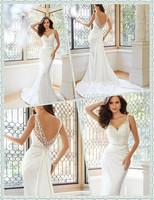 Slender Slim A-line Floor length Chapel train Sleeveless V-neckline Beading Bodice Draped Satin Bridal Wedding Dress