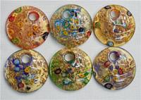 JLB Wholesale 6pcs Baroque Fashion Round shape Lampwork glass murano necklace pendants FREE SHIPPING GL074