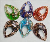 JLB Wholesale 6pcs Baroque Fashion Gold Dust Waterdrop Lampwork glass murano necklace pendants FREE SHIPPING