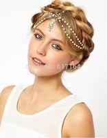 New 2014 Fashion Shiny Boho Women Pearl Gold Wedding Headdress Headband Head Band Crown Chain Headpiece