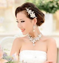 2014 Fashion New Korean Daisy Jewelry Bride Crown Bride Necklace Three piece Suit Marriage Gauze Accessories