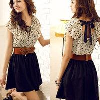 Summer Fashion Elegant Women Temperament Sweet Dots Elasticity Waist Belt  Sleeveless Lotus Leaf Sleeve Chiffon Dress HCX015