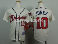 stitched  youth Atlanta Braves Jerseys #10 Chipper Jones  kid's /youth  baseball Jerse baseball shirt